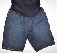 Liz Lange Maternity Bermuda Shorts Size XS Stretch Blue Full Belly Panel