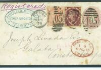 GB Cover 6½d RATE FRANKING Ipswich Registered GALATA CONSTANTINOPLE 1876 199c