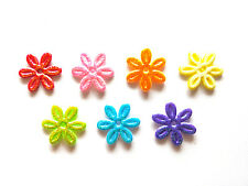 100 pcs  Cute Small foil flower Padded Appliques  Mix rainbow colors size 17 mm