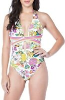 NWT! TRINA TURK Size 8 WHITE PLUNGE FLORAL ONE-PIECE SWIMSUIT