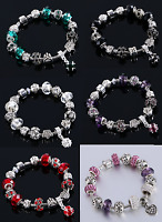 Girls/Women Silver plated Crystal pdora Rhinestone Charms Bead Charm Bracelet