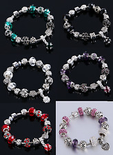 Silver Crystal  Rhinestone Bead Charm Bracelet Bead Safety chain Women Girls UK