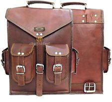 Men's Leather Laptop 2 In 1 Backpack Shoulder Bag Messenger Travel Rucksack Bag