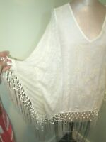 KNOX ROSE IVORY EMBROIDERED FRINGED PONCHO STYLE TOP W/SLEEVES SZ S/M EXCLNT!