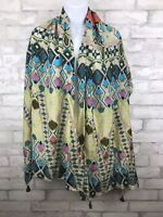 Scarf Tribal Geometric Multicolor Print With Tassels 69x24""