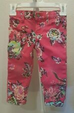 Roxy denim pants Jean  size 24 months pink with a floral print