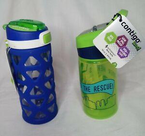 2 Kids Water Bottle with Auto Spout & No Slip Grip