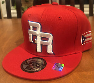 PUERTO RICO WBC 3-D EMBROIDERED PR FLAG ON SIDE HAT GORRA Cap red Fitted 7 3/8