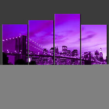 PURPLE BROOKLYN BRIDGE CANVAS WALL ART PICTURES PRINTS LARGER SIZE AVAILABLE