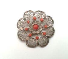 Antike Brosche aus Silberfiligran, geprüftes Silber mit Korallen Besatz