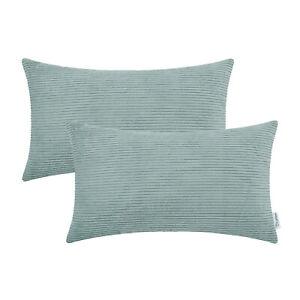 2Pcs Duck Egg Rectangle Pillow Cushion Throw Cover Corduroy Stripes Car 30x50cm