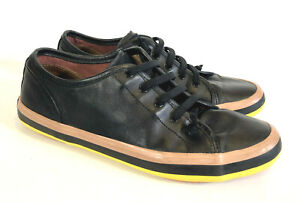 CAMPER shoes.  Black leather 'Alicante' sneakers, casuals. 41. UNISEX.