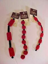 Beads Lot of 3 In Chinese Red and Black Each Unique Traditions Natural Gallery