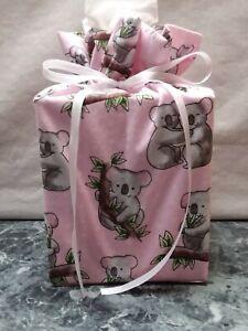 Koala Bears on pink cotton Fabric Handmade Square Tissue Box Cover