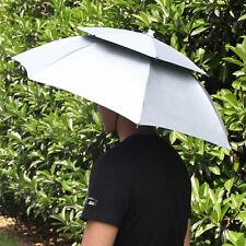 2 Layer Outdoor Folding Sun Rain Umbrella Cap Hiking Fishing Camping Travel Hat