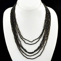 164.00 CTS NATURAL 6 LINE RICH BLACK OBSIDIAN ROUND BEADS NECKLACE - BEST OFFER