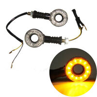 2pcs Amber Universal Motorcycle Turn Signals Indicator Lights Round Hollow 12LED