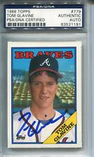 TOM GLAVINE AUTOGRAPHED SIGNED ATLANTA BRAVES PSA/DNA SLABBED TOPPS ROOKIE CARD