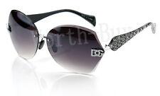 New DG Eyewear Womens Designer Sunglasses Shades Fashion Rimless Shield Round BK