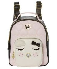 Betsey Johnson Backpack Cream Rose Pink Lamb Quilted Mini Shoulder Bag NWT