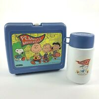 VTG Peanuts University Light Blue Plastic Lunch Box w/Thermos Charles Shultz
