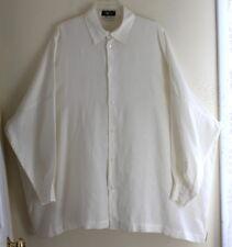 Eskandar Sz 2 Very Boxy Ivory French Linen Oversized Lagenlook Tunic Shirt Top