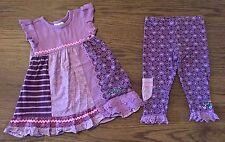 NAARTJIE SIZE 6-12 12-18 MONTH SISI PRINT DRESS CONTRAST POCKET LEGGINGS PURPLE