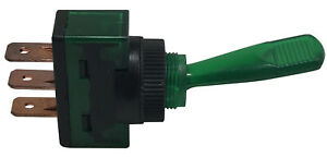 (4) Green Illuminated Plastic On Off Toggle Switch 12V 20A SPST - Car Boat