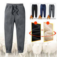 Men Thick Fleece Thermals Trousers Outdoor Winter Soft Warm Casual Pants Joggers