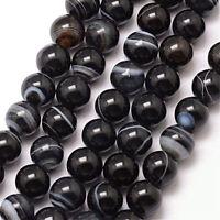 Natürliche Streifen Schwarz Achat Perlen Kugel 6mm Edelsteine Glänzende G33