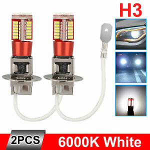 2PCS H3 LED Fog Light Bulbs Conversion Kit Super Bright Canbus 6000K White 100W
