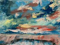 Sea Shore Seascape Oil Painting Ocean Clouds Modern Texture EXRESSIONISM