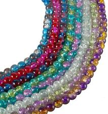 Deoot 400 Pcs Glass Beads 8mm Handcrafted Crackle Lampwork Round Beads for Jewel