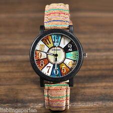 LP Vintage Damen Sportuhr Armbanduhr Quarzuhr Analog Lederband Kaffeebraun Watch