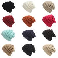 Women Mens Knitted Crochet Winter Warm Oversized Ski Slouch Beanie Cap Hat