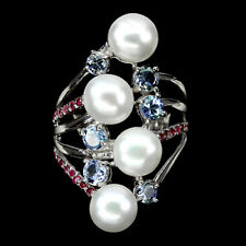 Großer Ring Tansanit Rubin Perle 925 Silber 585 Weißgold Gr. 59