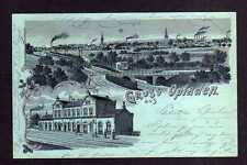 109750 AK Opladen 1900 Litho Bahnhof und Panorama mit Silberaufdruck