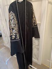 SHEIN Black Gold Flower Open Abaya Size M