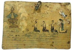 VTG Ex Voto Retablo Tin Mexican Folk Art Painting1978? Mexico Catholic Christian