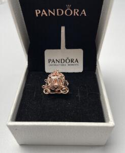 ALE Rose Gold Genuine Pandora Disney Cinderella Sparkling Carriage Charm & Box