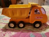 Vintage Buddy L Dump Truck Orange & Yellow Pressed Steel Made In Japan Toy