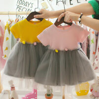 Toddler Infant Kids Baby Girls Patchwork Tulle Casual Clothes Princess Dresses