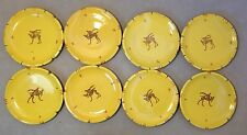 Set Of 8 Antique Focal Orvieto Pottery Dishes Reindeer
