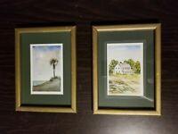 Pair of John Hills Framed Matted Signed Original Watercolors