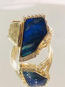 Opal Ring mit Boulder-Opal und Brillanten Gr 59  Gelb-gold 585/14k