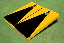 Black And Yellow Matching Triangle No Stripe Custom Cornhole Board