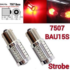 Strobe 7507 BAU15S PY21W 33SMD LED 150° Red Front Turn Signal M1 MAR