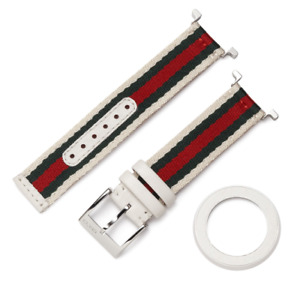 Gucci YFA50040 13mm White Leather Green Red Interchangeable U-Play Watch Strap