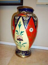 Nippon vase, 1950 Red, hand thrown with a deco/ nouveau design