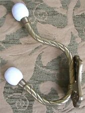 """Vintage Coat & Hat Large Double Hook Brass Ceramic Ball Tips Wall Mounted 6 3/4"""""""